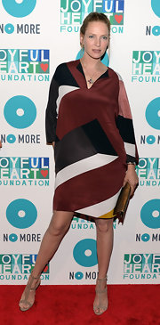 Uma Thurman chose a geometric-patterned trapeze dress for her mod-inspired red carpet look in NYC.