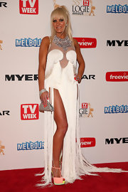 Brynne Edelsten showed off her unique red carpet style with this white fringed gown.