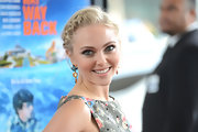Annasophia Robb wore colorful dangling gemstone earrings with a braided updo for a sweet and glam finish at the premiere of 'The Way, Way Back.'