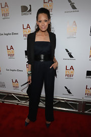 Keisha Whitaker chose an all-black jumpsuit with a wide belt for her look at the 'Fruitvale Station' premiere.