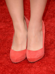 Jessica Lu chose a pair of red suede pumps for her red carpet look at the 2013 MTV Movie Awards.