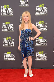 Jennette McCurdy rocked a strapless patchwork dress at the MTV Movie Awards.