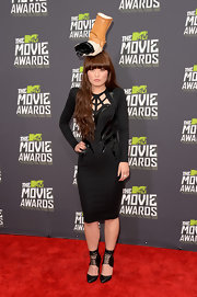 Hana Mae Lee chose a super cool black cutout dress that was a funky updated take on the LBD.