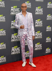 RuPaul chose a silver watercolor suit for his look at the 2013 MTV Movie Awards.