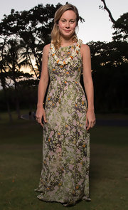 Brie Larson looked tropical chic with this delicate, floral-print maxi dress.