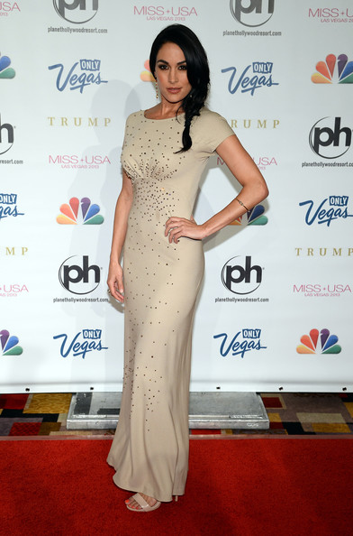 Brie Bella chose a lovely nude-colored capped-sleeve gown with sequined embellishments for her red carpet look.
