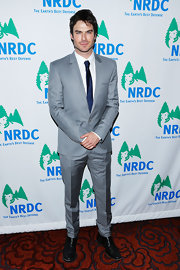 Ian Somerhalder opted for a cool and modern looking suit for his red carpet look at the NRDC Game Changer Awards.