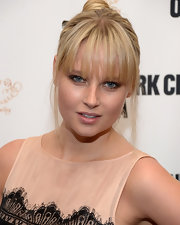 Genevieve Morton styled her hair in a top knot with choppy bangs for the New York City Opera Spring Gala.