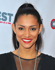 Miranda Rae Mayo rocked a high wrapped ponytail at the closing night of Outfest Film Festival.