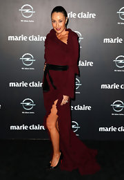 Terry Biviano chose a wine red evening gown with a ruffled fishtail and neckline.