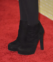 Black ankle booties topped off Bridgit Menler's cool red carpet look.