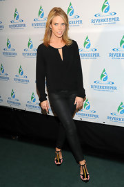 Cheryl Hines kept her look monochromatic at the Riverkeeper's Fishermen's Ball where she wore this black blouse and leather pants.