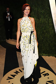 Juliette Lewis showed her fun personality and style with this white halter dress with yellow and black embellishments.