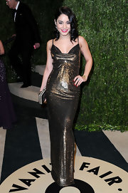 Vanessa Hudgens channeled some old-school glamour with a sequined copper dress with a cowl neck.