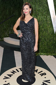 Oscars Night is a night to shine. Just ask Rashida Jones, who wore a sequin embellished, long black dress to the Vanity Fair Oscar Party.