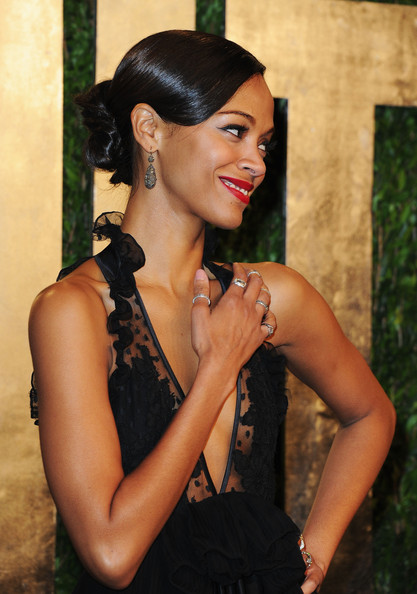 More Pics of Zoe Saldana Chignon (1 of 11) - Updos Lookbook - StyleBistro