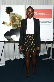 A pair of floral shorts by Prada finished off Lupita Nyong'o's outfit in cute style.