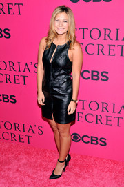 Vanessa Ray looked cute and sexy in a leather LBD during the Victoria's Secret fashion show.