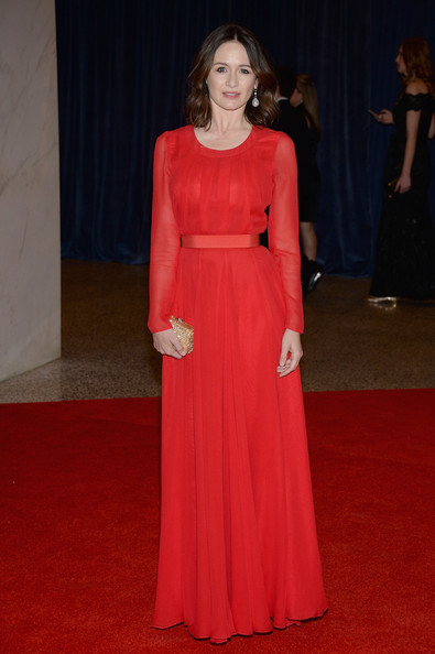 Emily Mortimer's long sleeve red gown looked absolutely divine on the actress.