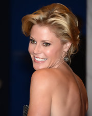 Julie Bowen added some volume to her blonde locks with a teased, pinned updo.