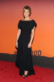 Dianna Agron donned a flowy black Louis Vuitton evening dress for the Whitney Gala and Studio Party.