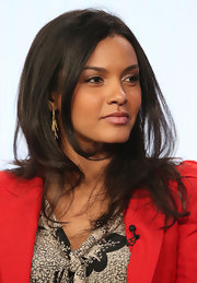 Jessica Lucas accessorized her 2013 Winter TCA Tour outfit with gold dangle earrings.