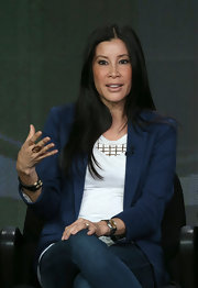 Lisa Ling topped her jeans and shirt ensemble with a blue blazer that definitely brought out her warm complexion as she spoke during the 2013 Winter TCA tour