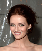 Lydia Hearst pulled her hair up in a messy, puffy updo for the amfAR Inspiration Gala.