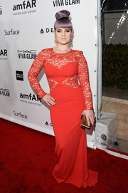 Kelly Osbourne wore a sultry yet tasteful red lace-panel gown by Paule Ka to the amfAR Inspiration Gala.