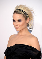 Dianna Agron dolled up her messy 'do with a black headband.