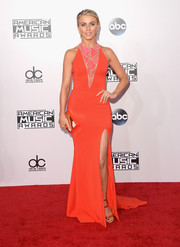 Julianne Hough brought a shock of color to the American Music Awards with this red-orange Zuhair Murad gown featuring a geometric-patterned neckline and a thigh-baring side slit.
