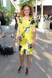 Diane von Furstenberg paired her dress with cute black Christian Louboutin Bow Bow sandals.