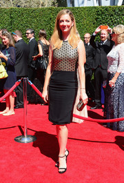 Judy Greer chose a pair of evening sandals with embellished ankle straps to complete her red carpet look.