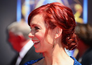 Carrie Preston was all dolled up with this messy-glam chignon at the Creative Arts Emmy Awards.