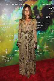 Carine Roitfeld kept it classy in a long-sleeve printed evening dress during the Fragrance Foundation Awards.