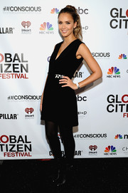 Jessica Alba opted for a simple LBD by Edun when she attended the Global Citizen Festival.