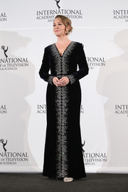 Megan Follows looked like royalty in a black velvet gown with crystal embellishments along the neckline and down the front during the International Emmy Awards.