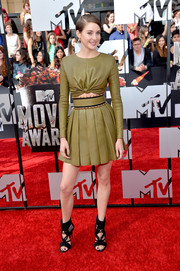 Shailene Woodley wore her crop-top with a matching pleated mini skirt for an edgy-girly finish.