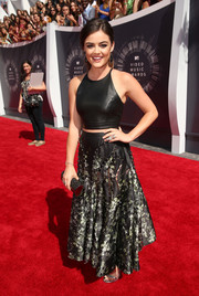 Lucy Hale looked gorgeous and trendy in a leather crop top and studded skirt by Sachin + Babi.