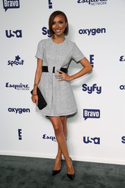 Giuliana Rancic chose a cute gray and black mini dress for the NBCUniversal Cable Entertainment Upfronts.