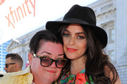 (L-R) Lea DeLaria and Taryn Manning pose on stage at San Francisco Pride Day on June 29, 2014 in San Francisco, California.