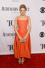 Celia Keenan-Bolger exuded classic elegance in this orange evening dress during the Tony Awards.