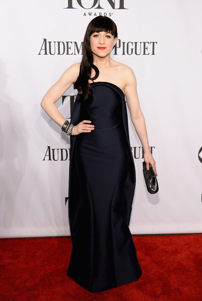 Lena Hall looked vampy in a structured black strapless gown during the Tony Awards.