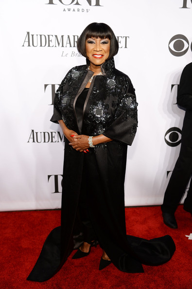 Patti LaBelle looked every bit the diva in a floral-beaded black opera coat at the Tony Awards.