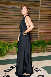 Carey Lowell chose a simple yet sophisticated black halter gown for the Vanity Fair Oscar party.