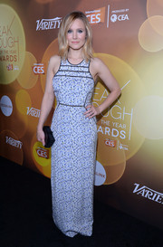 Kristen Bell attended the Variety Breakthrough Awards wearing a long micro-print dress by Yigal Azrouel.