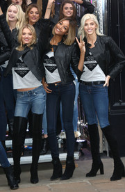 Jourdan Dunn chose a pair of black suede ankle boots to seal off her look.