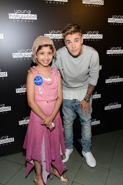 More Pics of Justin Bieber Crewneck Sweater (1 of 16) - Tops Lookbook - StyleBistro [event,premiere,fun,magenta,performance,smile,style,fashion design,pink,grace kesablak,justin bieber,r,young hollywood awards,honoree,the wiltern,california,los angeles,make a wish]