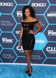 Mishael Morgan looked seductive in a bondage-chic sheer-panel off-the-shoulder LBD at the Young Hollywood Awards.