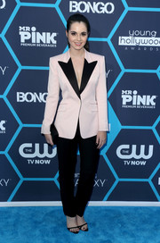 Vanessa Marano was androgynous-chic at the Young Hollywood Awards in a black-lapel pink blazer by Skaist Taylor.